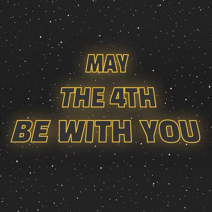 Frase May the 4th be with you com fundo preto